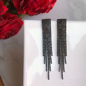 Drop Dead Black Crystal Rhinestone Dangle Earrings